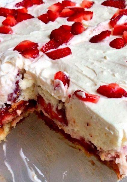 No-Bake Strawberry Shortcake Lasagna - Recipe, Desserts, Quick, Easy, Scrumptious, Lady Fingers