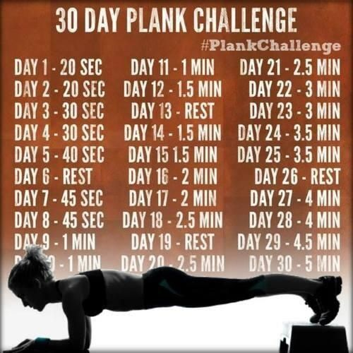 30 day challenge.......I'm gonna do this cause I'm curious if by day 30 you could actually do a five minute plank.