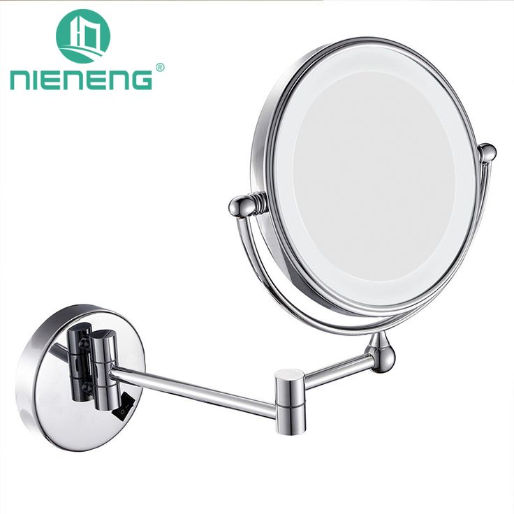 Nieneng  LED Makeup Mirrors 90-260V Double Side LED Light Mirror Make Up 3X 10X Metal Bath Mirror Toilet Mirror ICD60527