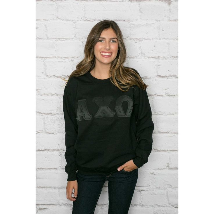 Alpha Chi Omega Black on Black Crewneck Sweatshirt