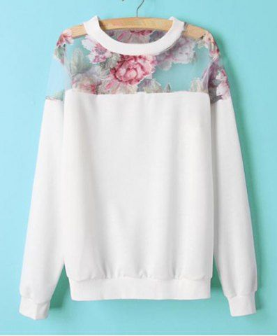 Stylish Round Collar Long Sleeve Floral Print Voile Splicing Women's Sweatshirt