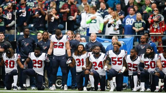 Most of the Houston Texans took a knee during Sundays national anthem