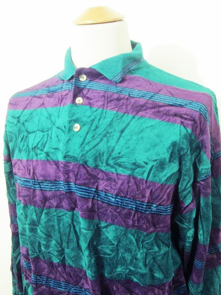 Vintage Velour Indie Hipster Green Purple Multi Stripe Sweater Jumper Top Large