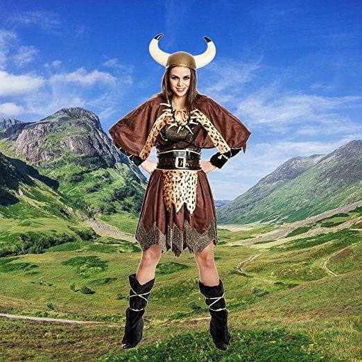 Kostümplanet® Wikinger-Kostüm Damen Wikingerin-Kostüm Frauen Halloween Fasching Cosplay - Kostüm wie in Game of Thrones?