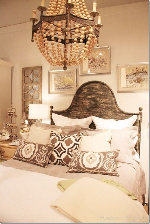 Pillows. chandelier. bed. love it all! http://www.pinterest.com/VintageAndFound/sleep/ #vintage_and_found #bed