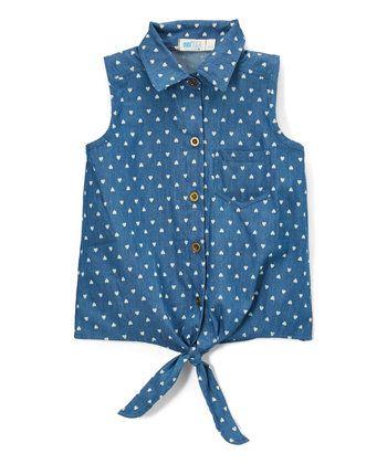 Indigo Polka Dot Denim Button-Up Top - Girls
