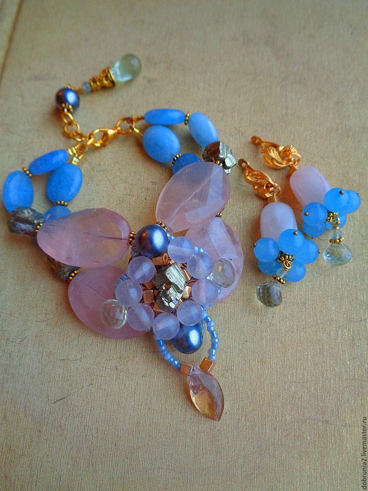"""Купить Браслет """"Подарки фей"""" - розовый, голубой, браслет, серьги, кольцо, розовый кварц, празеолит"""
