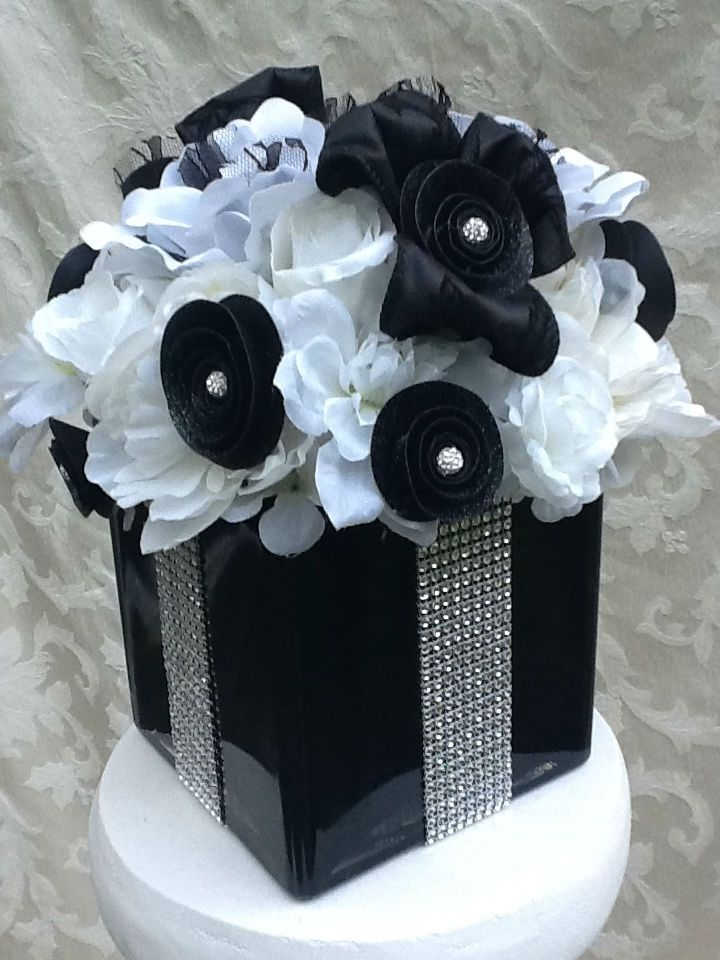 Custom Made Silk Floral Bling And Lace Wedding Centerpiece