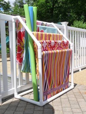 Outdoor pvc towel organizer and pool toy organization holder.