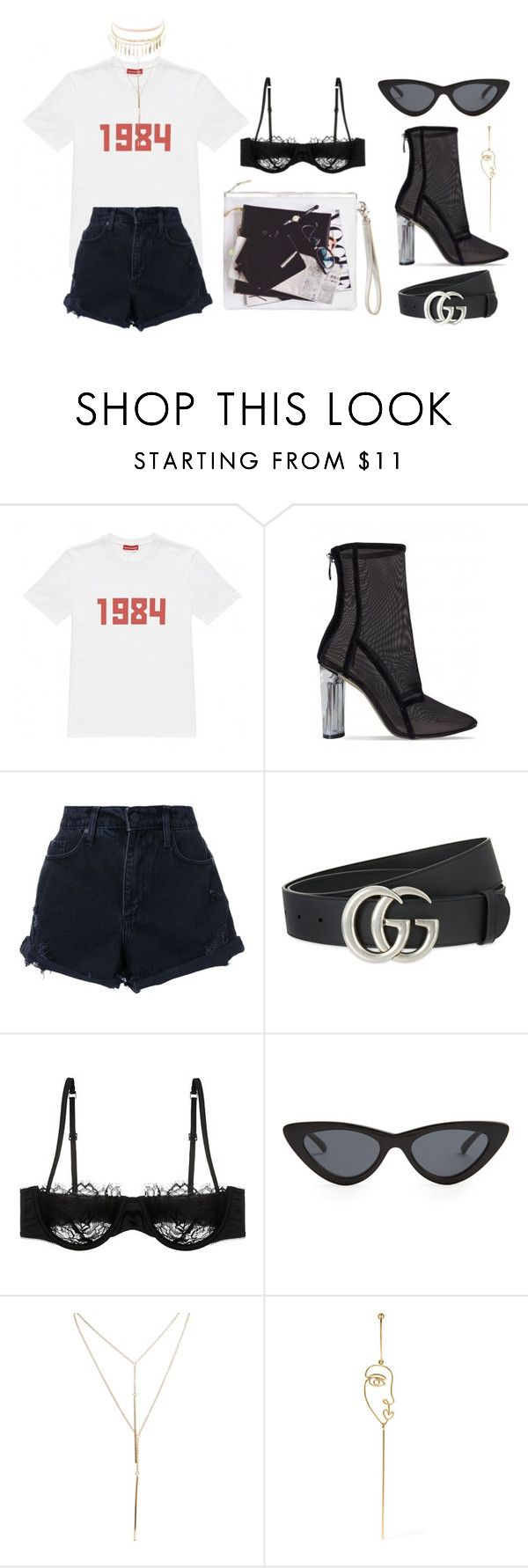 """1984"" by mimiih on Polyvore featuring Gosha Rubchinskiy, Nobody Denim, Gucci, Morgan Lane, A'N'D, Le Specs, Wet Seal, Sarah & Sebastian and Charlotte Russe"