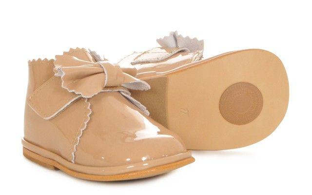 Baby Girls Camel Patent Velcro Boot