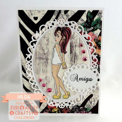 Hilda Designs: Reto #21 en ZAC: Dia Internacional de la Amistad,  Scarlett de Zuri digi Stamps, sello Mi flor Favorita de Latina Crafter