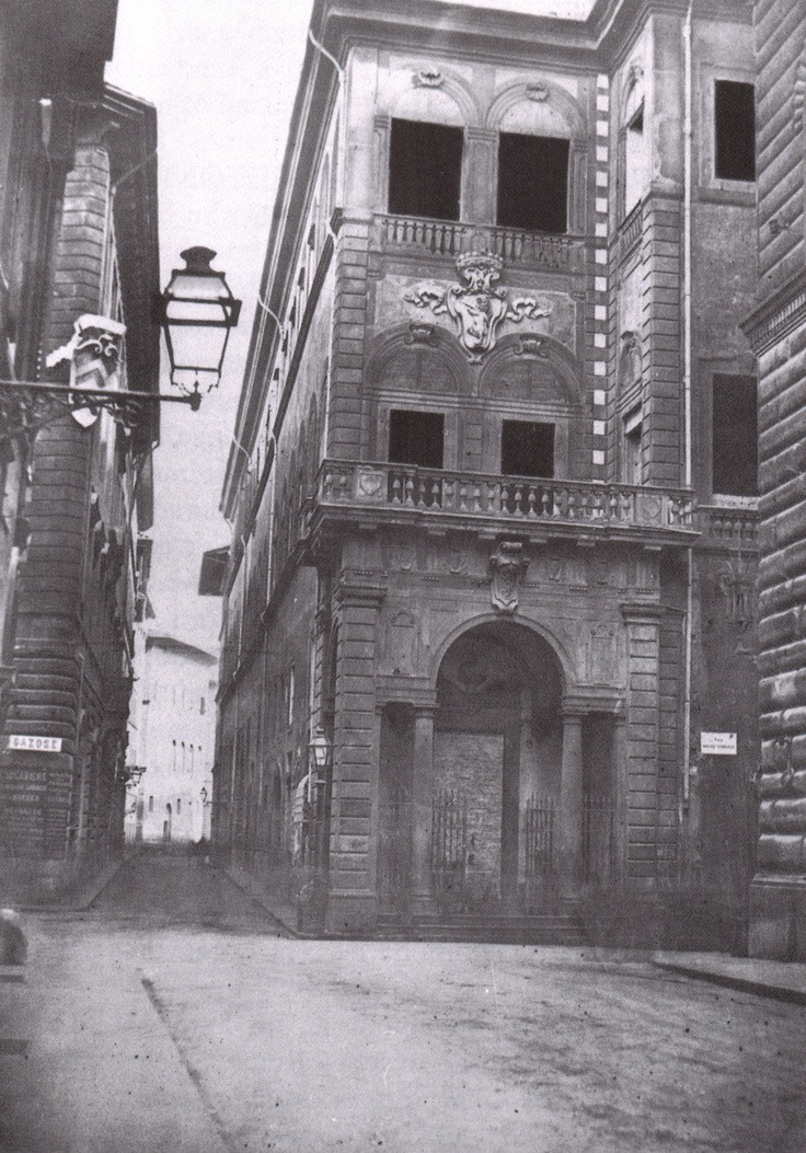 Palazzo Corsi Tornabuoni on Via Tornabuoni right before 1857, when it was partially destroyed to enlarge the street