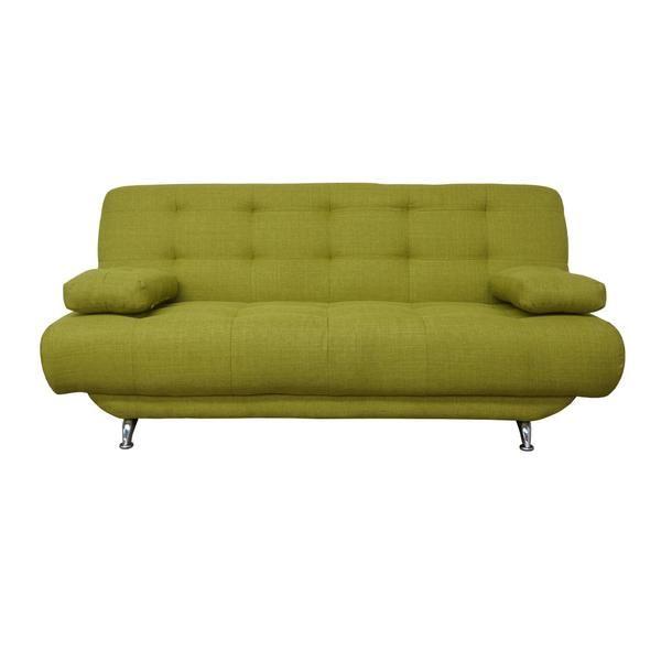 ¡Mira cómo se hace cama! ¡Un estilo clásico de sofácama! Se despliegapor la mitad y tiene tres posiciones: como sofá, reclinado o totalmente abatido como cama individual. Tapizado en tela Challenger tipo lino, muy agradable para dormir, en vistosos colores, ¡para que complementes tu decoración de forma espectacular! Tiene capitones (los espacios hundidos en asientos y respaldos) espaciados para que sea más cómodo dormir. Incluye dos cojines que puedes utilizar como brazos o almohadas…