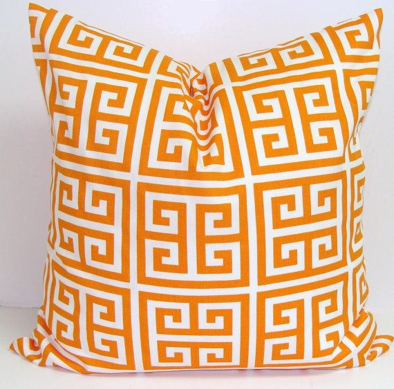 Orange Pillow.16x16 inch.Greek Key.Decorative Pillow Cover.Printed Fabric Front and Back.Orange Pillow $15