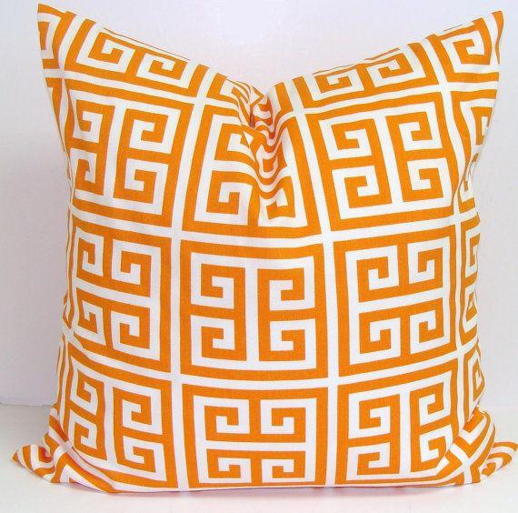 ORANGE PILLOW SALE.18x18 inch.Greek Key.Decorator Pillow Cover.Printed Fabric Front and Back.Greek Key.Maze.Geometric Pillow.Cushion.Cm.Sale