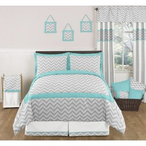 Zig Zag Turquoise and Gray | Sweet Peaches Bedding