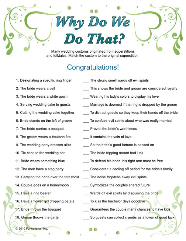 Wedding Shower Games & Bridal Games