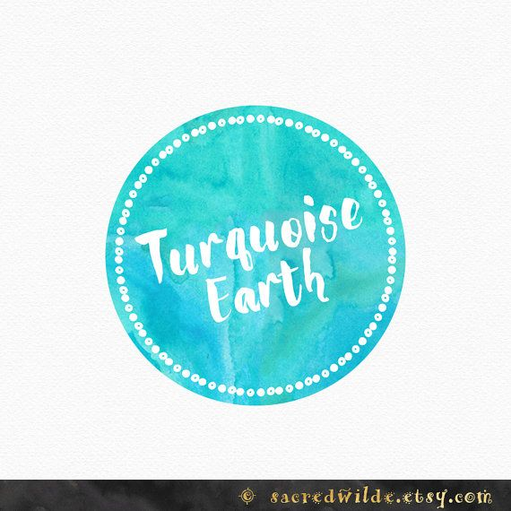 Watercolor Earth Circle Logo , Turquoise Logo , Aqua Logo , Watercolour Circle , Earthy Logo , Circle Border , Green and Blue