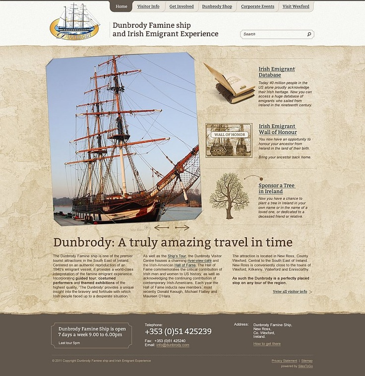Dunbrody Famine Ship and Irish Emigrant Experience, New Ross, Co. Wexford. WordPress website with full Content Management System (CMS)