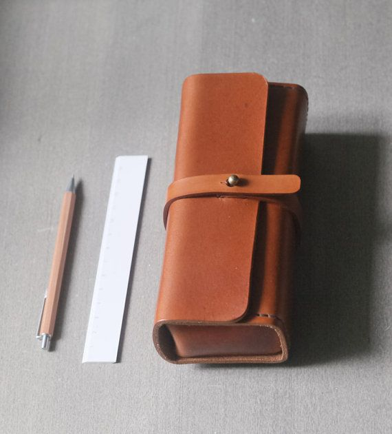 brown vegetable cow hide leather Pencil Case/Pen by EarthyLeather