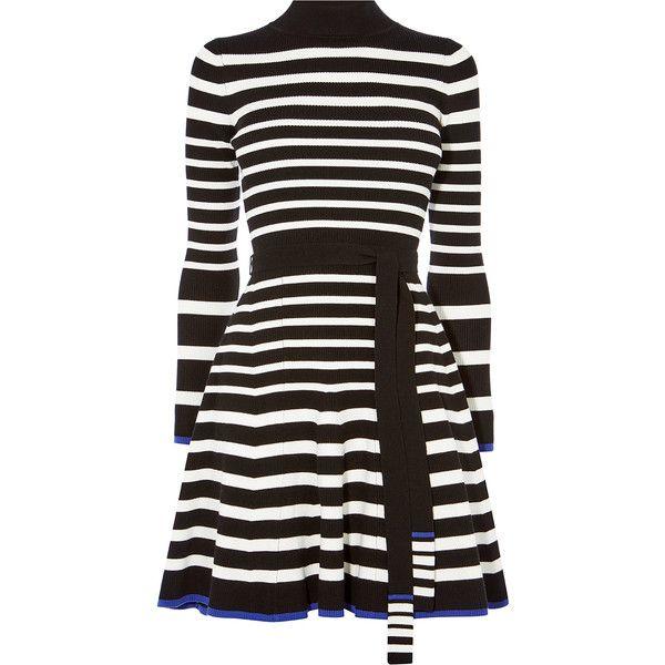 Karen Millen Stripe Knit Skater Dress ($225) ❤ liked on Polyvore featuring dresses, mini skater dress, skater dresses, mini dress, fitted dress and high neck dress