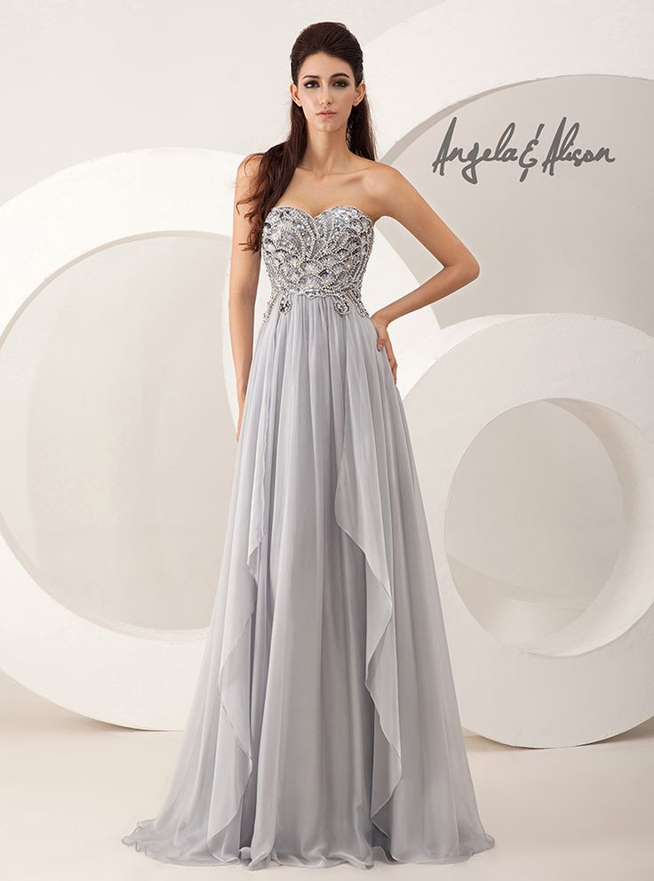 Style 41028 Sweetheart neckline, detailed beaded top and chiffon bottom. Perfect for Prom, Homecoming, Gala, Wedding, Formal, Graduation, Ball... etc.