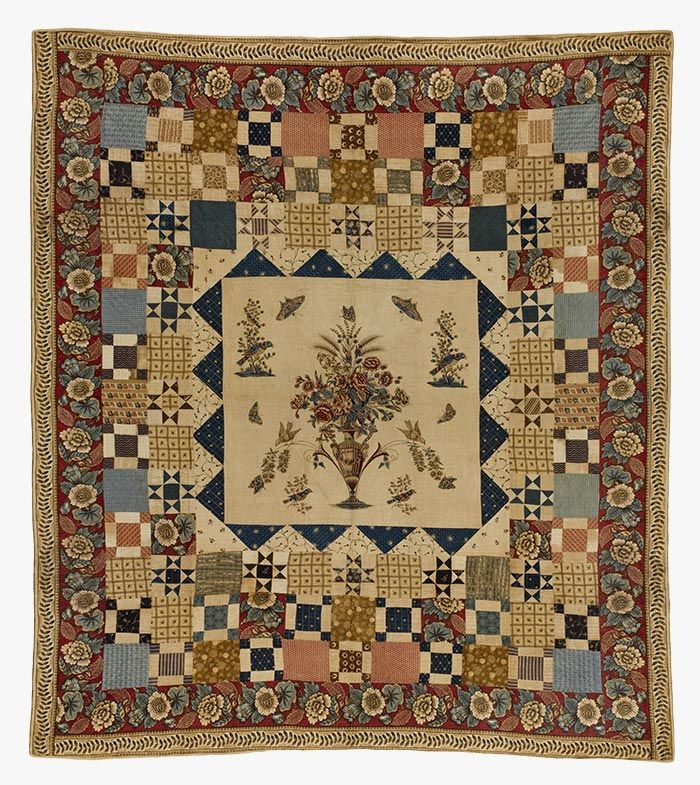 """HEWSON-CENTER QUILT WITH MULTIPLE BORDERS / Artist Unidentified, center block printed by John Hewson (1744-1821), 1790–1810, cotton and possibly linen, 85 1/2 x 76"""", Collection American Folk Art Museum, New York, gift of Jerry and Susan Lauren, 2006.5.1 Photo by Gavin Ashworth"""