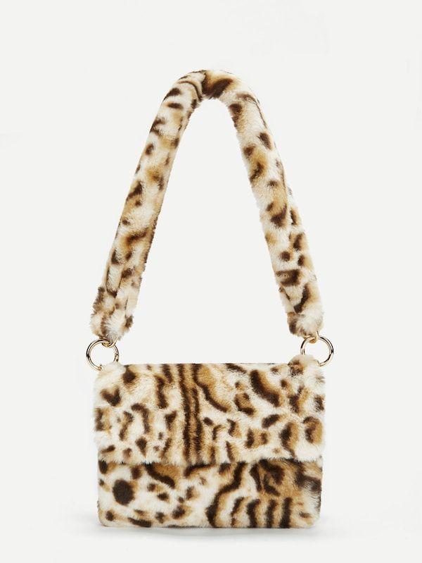 aae735170258 Leopard Pattern Faux Fur Shoulder Bag -SheIn(Sheinside)