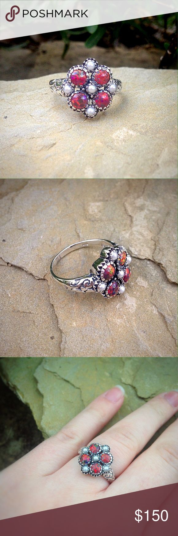 Solid sterling silver boho red opal & pearl ring Super unique red opal and pearl ring. Jewelry Rings