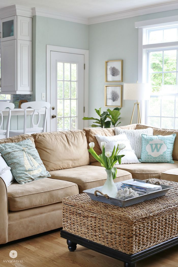 Coastal Family Room ~ Idea, make a base for wicker basket coffee table