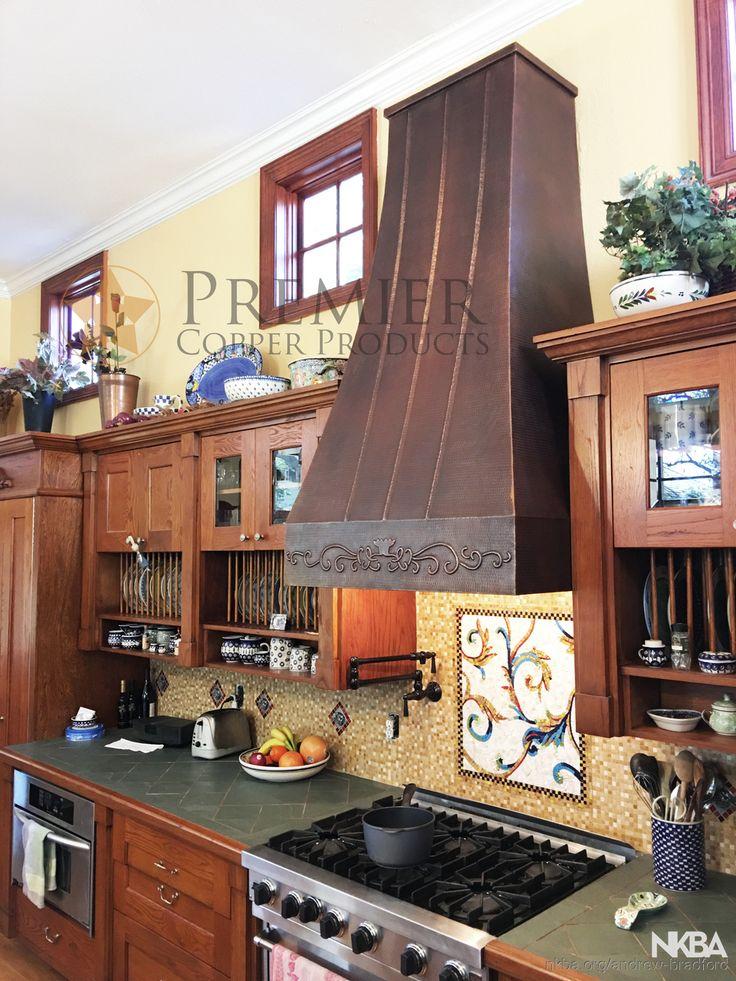 Custom copper range hood farmhouse kitchen with