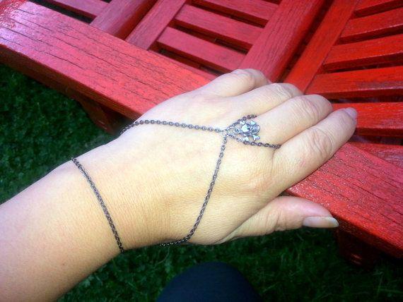 Skull bone bracelet slave bracelet chain by Blackpassion on Etsy