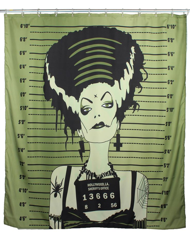 Too Fast Shower Curtain - Bride. Frankenstein. Halloween. Gothic.