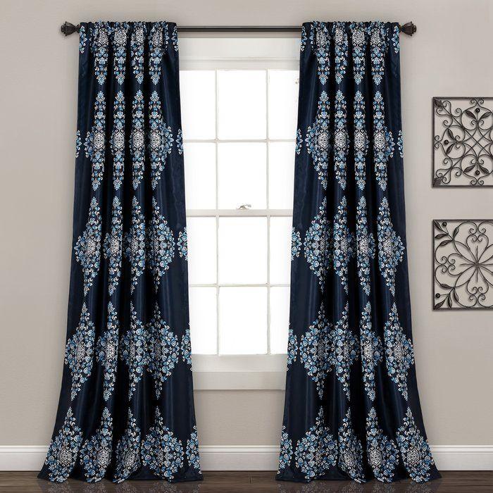 Sussex Nature/Floral Room Darkening Rod Pocket Curtain Panels