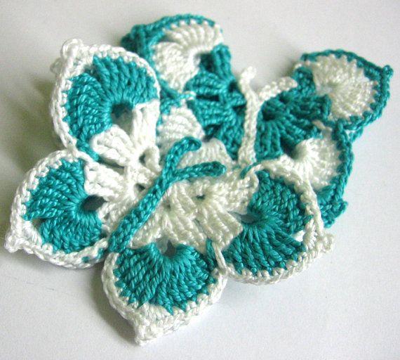 Crocheted Butterfly Appliques Handmade set of 2 by KikamoraCrafts
