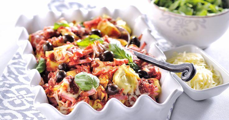 Pastagratäng med skinka och oliver