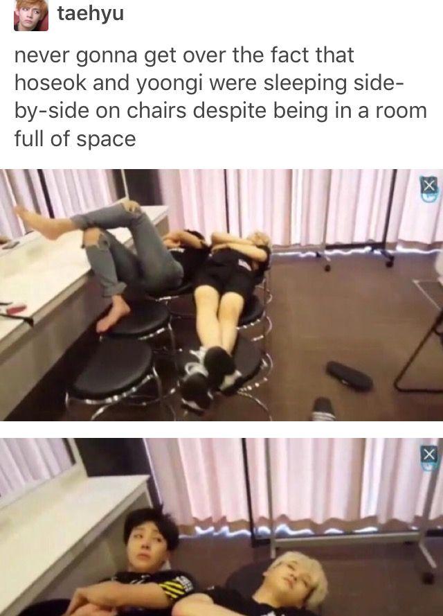 Amazed at how Hoseok and Yoongi can even sleep like that