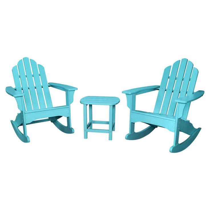 Outdoor Hanover All-Weather 3 pc. Adirondack Rocking Chair Set with Side Table - ADROCKER3PCAR