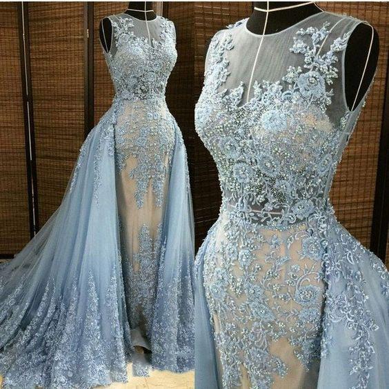 Lace Prom Dress with Train,Mermaid Prom Dress,Fashion Prom