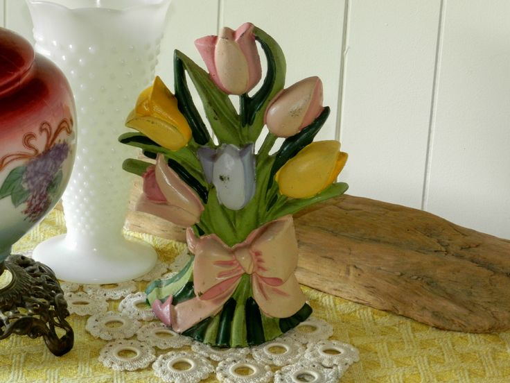 Vintage Door Stop Cast Iron Tulip Bouquet Home Decor Cottage Chic by thevermontbaglady on Etsy