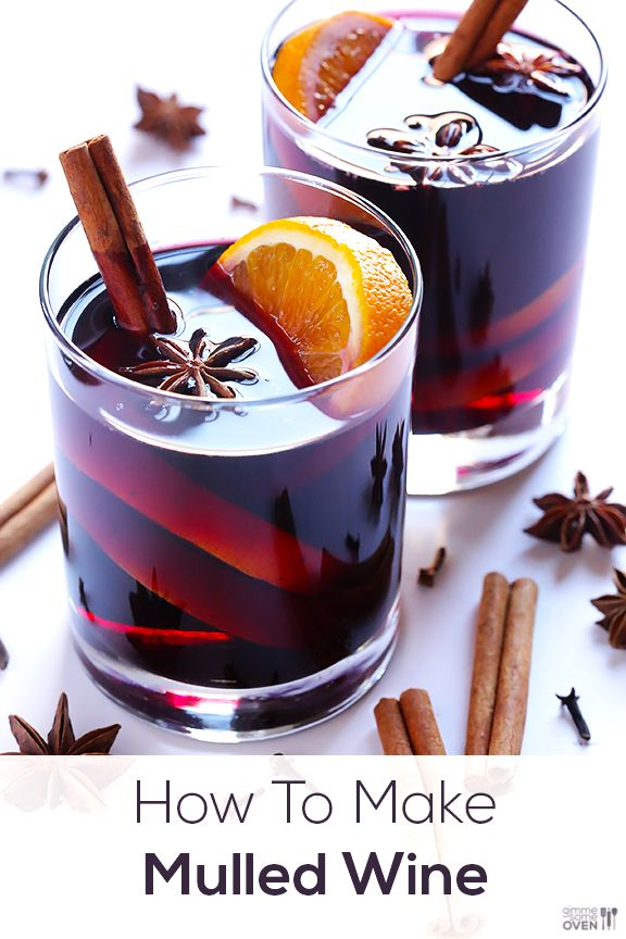Mulled Wine Recipe - 1 bottle wine, 1 orange, 1/4c brandy, 1/4c sugar, 8 whole cloves, 2 cinnamon sticks, 2 star anise