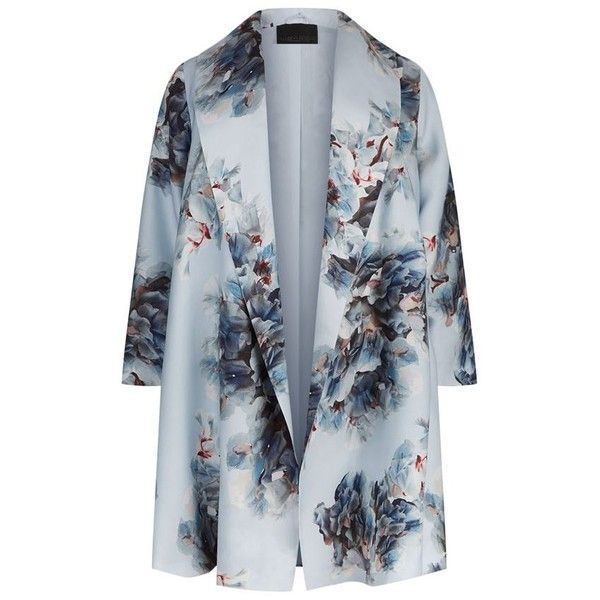 Marina Rinaldi Shawl Collar Floral Print Coat ($1,185) ❤ liked on Polyvore featuring outerwear, coats, lightweight coat, summer coats, floral coat, shawl collar coats and blue coat