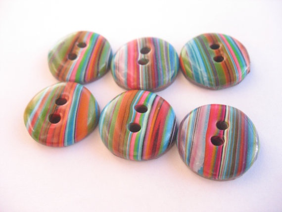 6 Handmade polymer clay stripes buttons in by ButtonDelight, $9.60