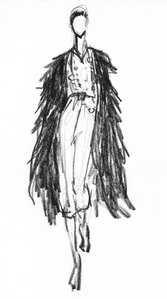 Fashion Design Sketch - the fashion sketchbook; charcoal drawings // Susanna Ngao
