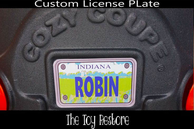 Replacement Decals fits Little Tikes Cozy Coupe #Indiana Custom Number Plate #TheToyRestore #TheToyRestore #LittleTikes #CozyCoupe #LicensePlate #NumberPlate #Vanity #CozyCoupeRedo #CozyCoupeMod #CozyCoupeMakeover