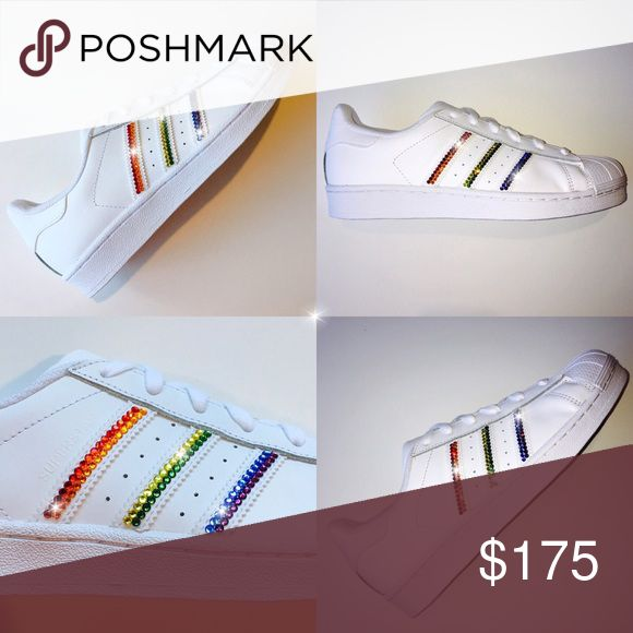 Bling Adidas Superstars with Swarovski Crystals  Authentic New Women's Adidas Originals Superstar shoes with hand placed Swarovski Crystal Detail on outer logos.   Shoes are hand made to order & typically ship within 2 weeks.   With over 20 years experience working with Swarovski crystals, my work is very neat & clean. You will love these shoes!   All customization is done in a smoke/pet free environment so your shoes will be free of any odors or allergens.   Fit is large. It is suggested…