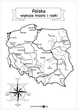 Polska – większe miasta i rzeki – plansza i wklejki - Printoteka.pl