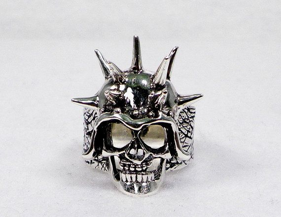 Sterling Silver Spiked Pointy Skull in a Helmet Character Ring - Clearing this one out @ Sale Price :) $115.00