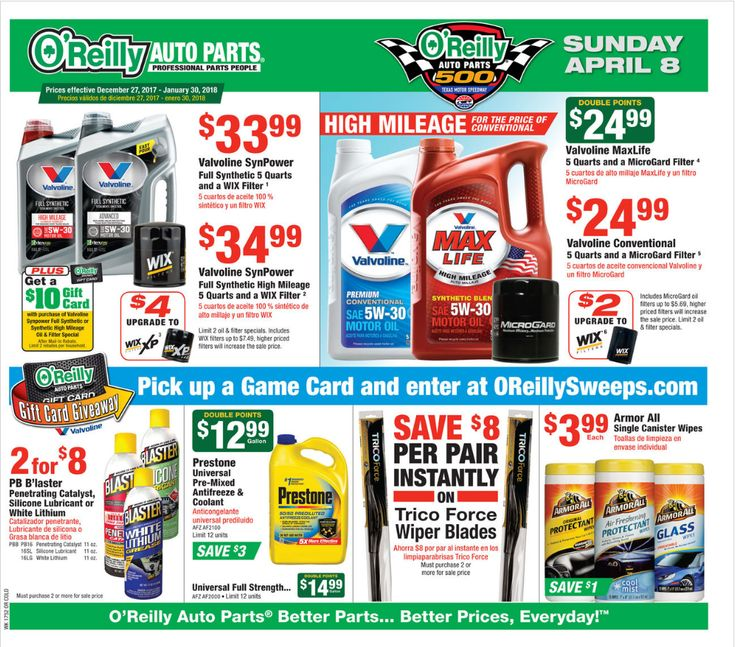 O Reilly Auto Parts Ad December 27 - January 30, 2018 - http://www.olcatalog.com/oreilly-auto/oreilly-auto-parts.html